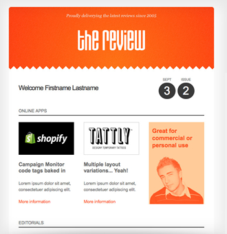 The Review A Bold And Simple Single Column Campaign Monitor Email